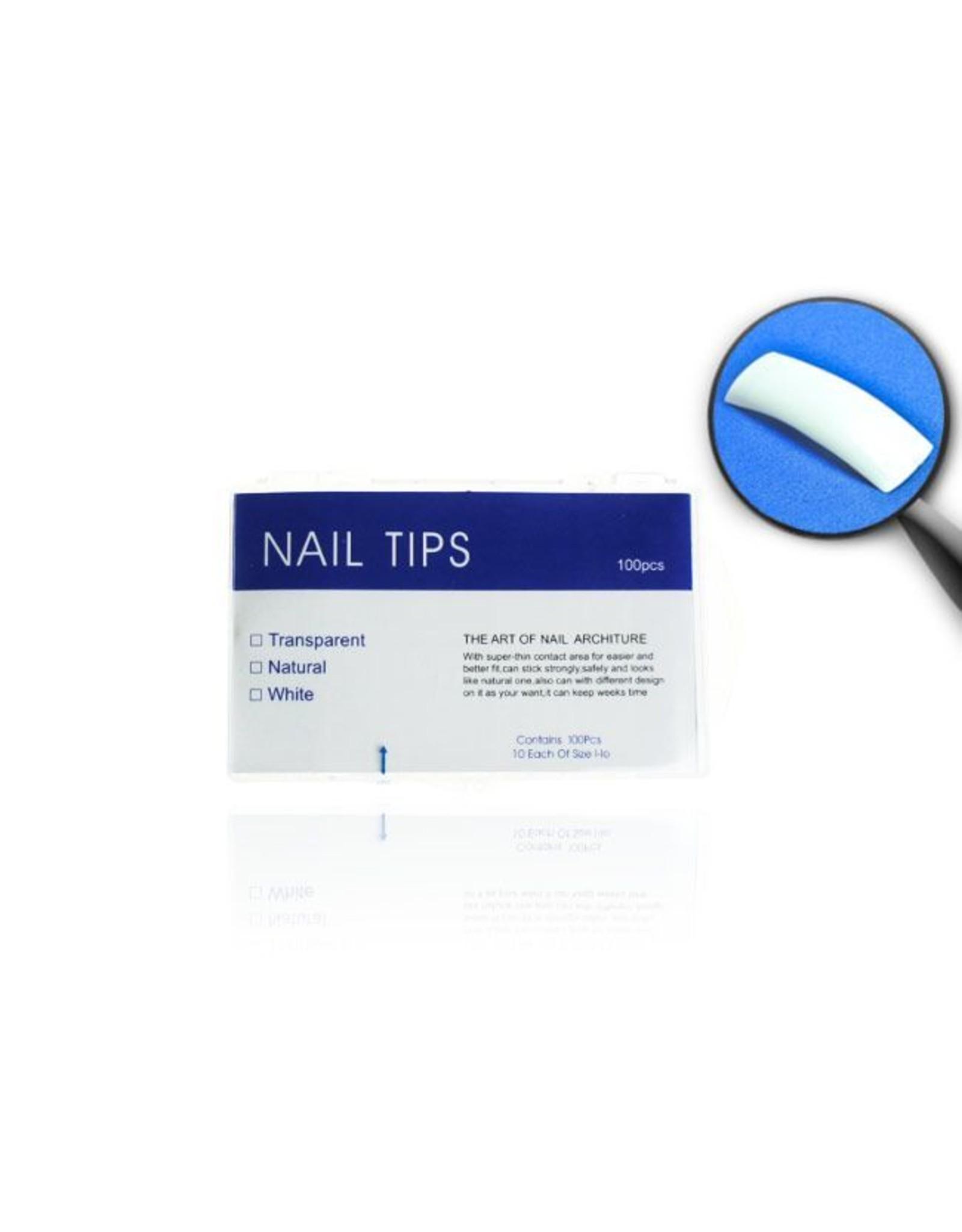 Merkloos Tips naturel tipbox 100 stuks met kort opzetstuk