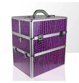 Merkloos Koffer groot Croco Paars