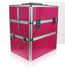 Merkloos Koffer groot Croco Roze