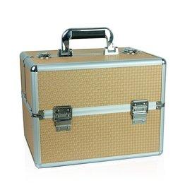 Merkloos Aluminium koffer met opbergvakken Goud