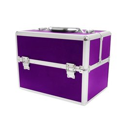 Merkloos Aluminium luxe koffer - paars