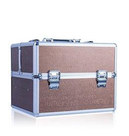 Merkloos Aluminium koffer met opbergvakken Bruin