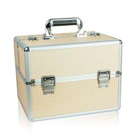 Merkloos Aluminium koffer met opbergvakken Beige