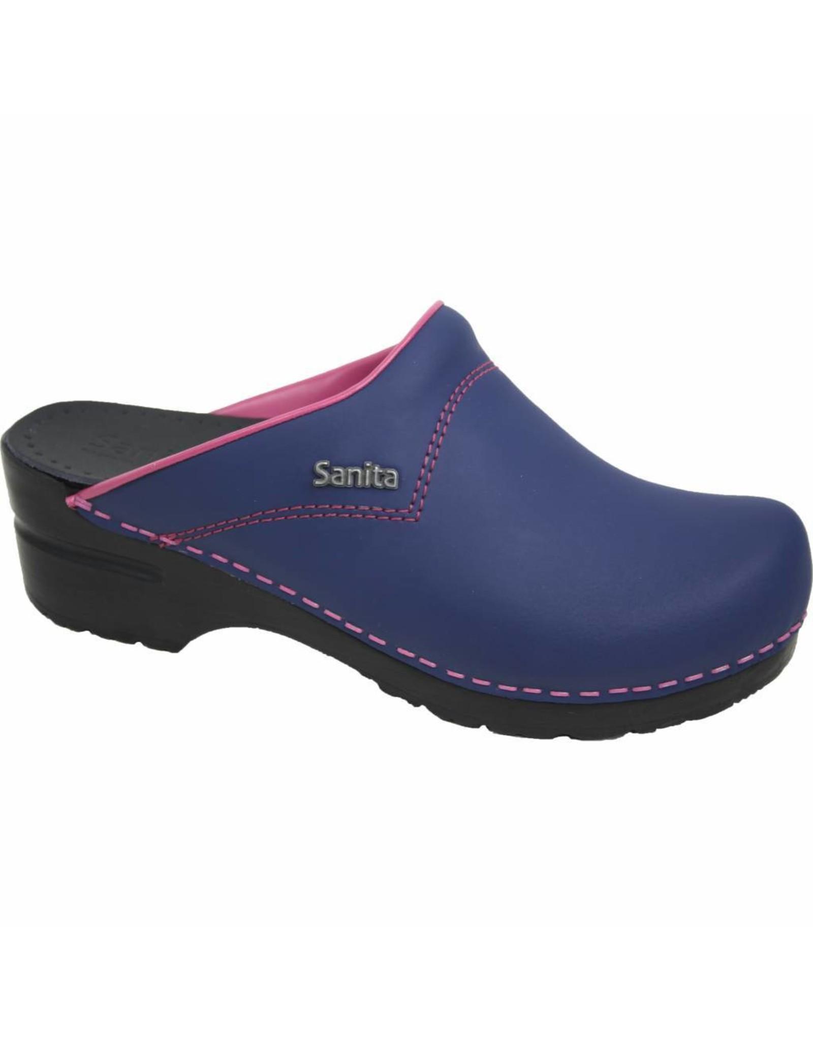 Sanita® Sanita Flex klompen, 314, Jeansblauw roze accent, open