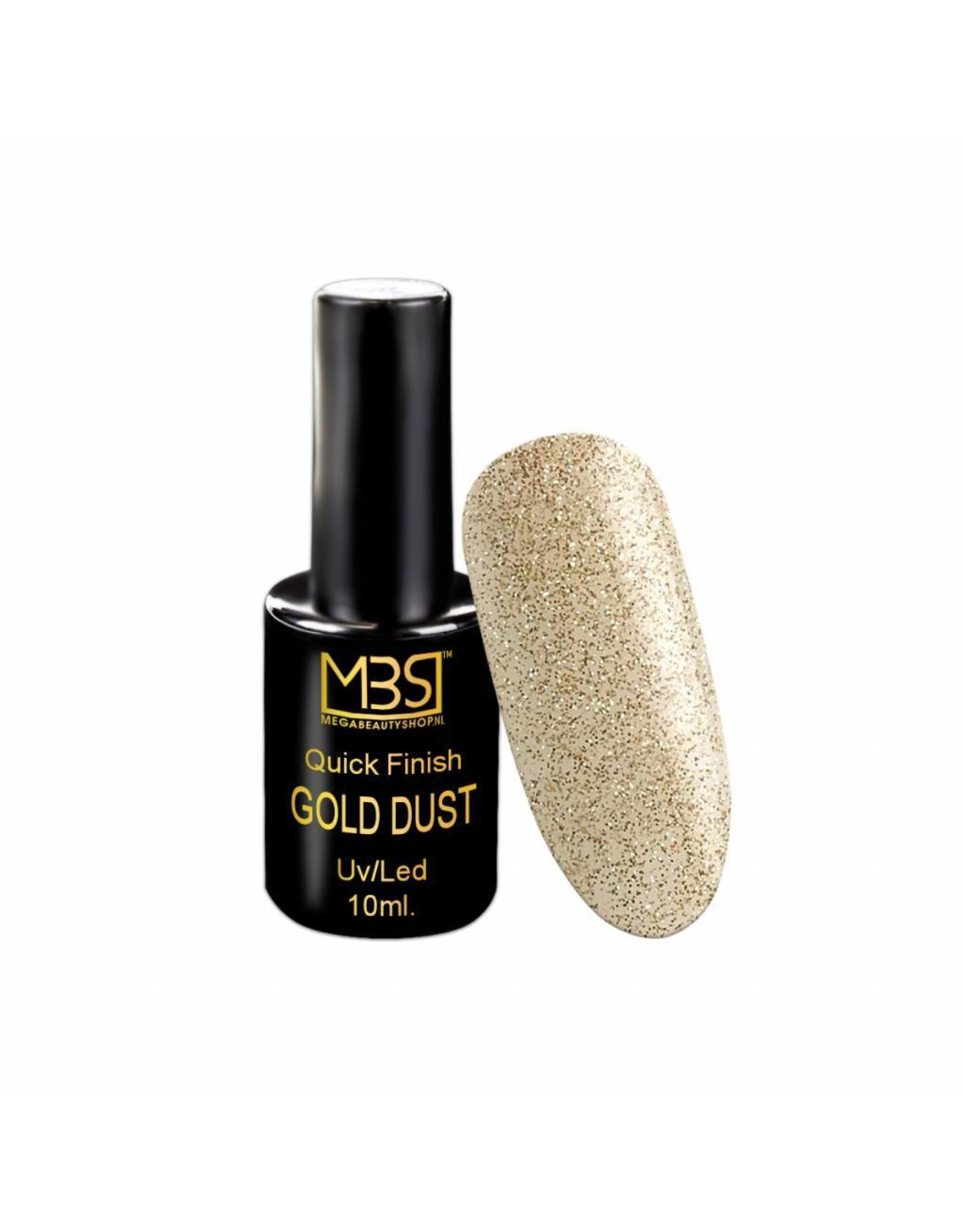 Mega Beauty Shop® Uv Quick Finish  gel 10ml zonder plaklaag (gold dust effect)