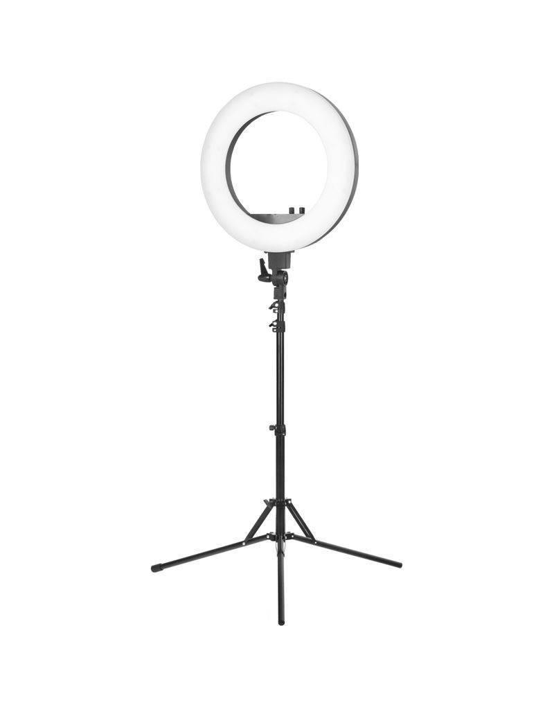 """Merkloos Ring  LED lamp + statief 48Watt 18"""" /zwart"""