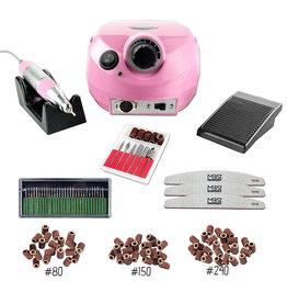 Merkloos Nagelfrees roze + 3 MBS® trapeze vijlen, klein bitsets, Freesset 30-delig en 150 schuurrolletjes