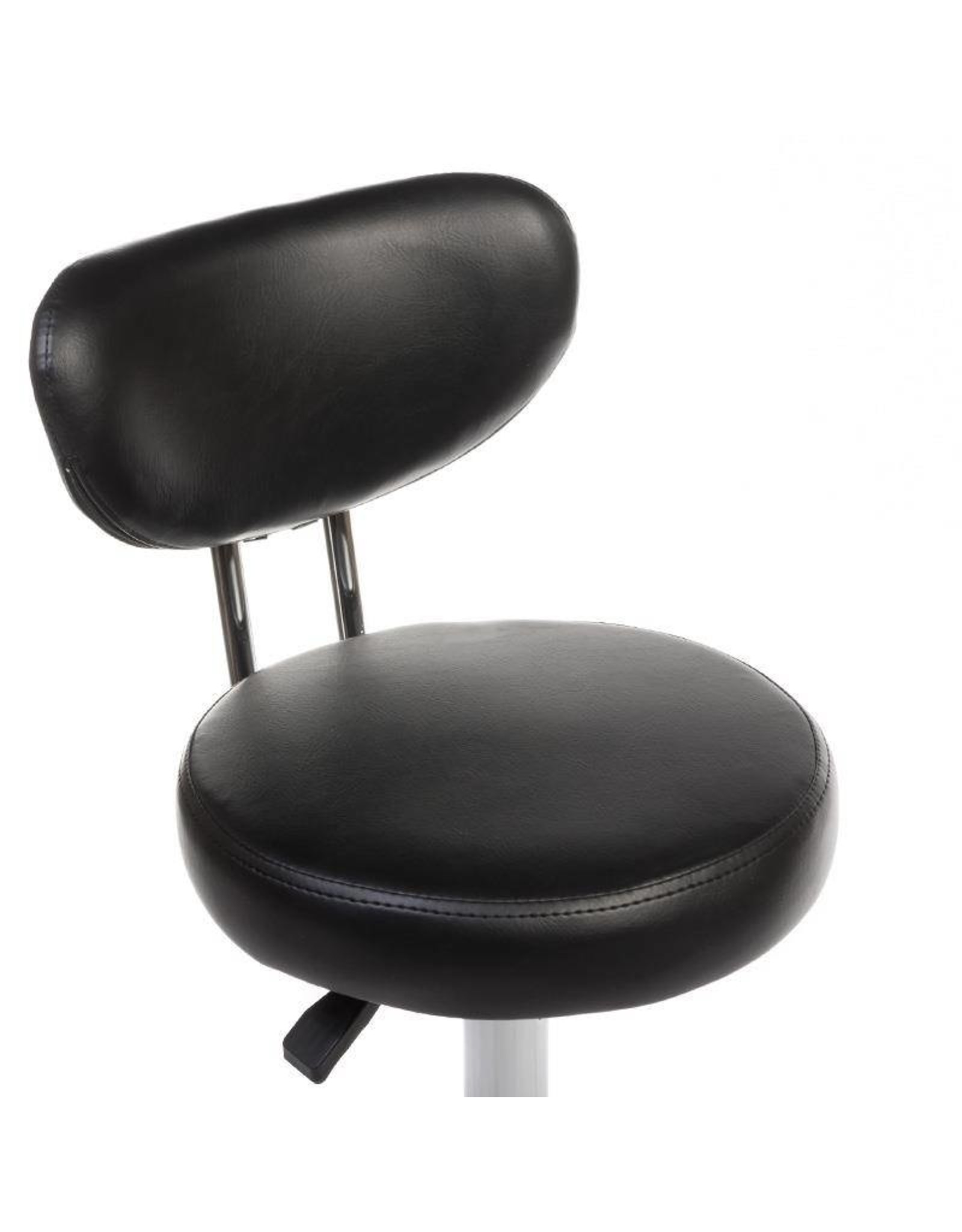 Mega Beauty Shop® Kruk met rugleuning - zwart