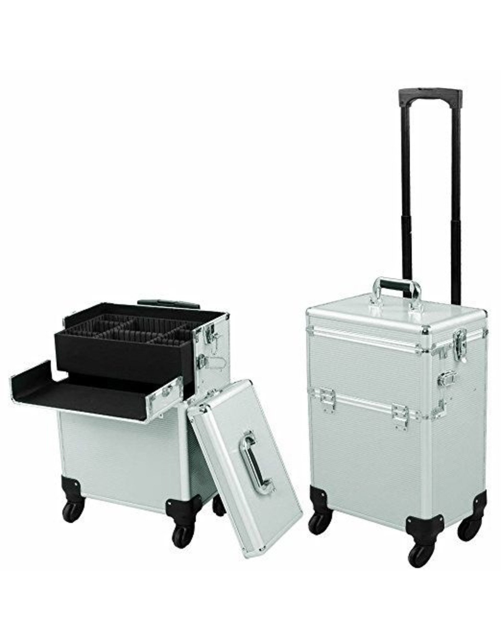 Mega Beauty Shop® Aluminium Trolley 2 in1  Zilver