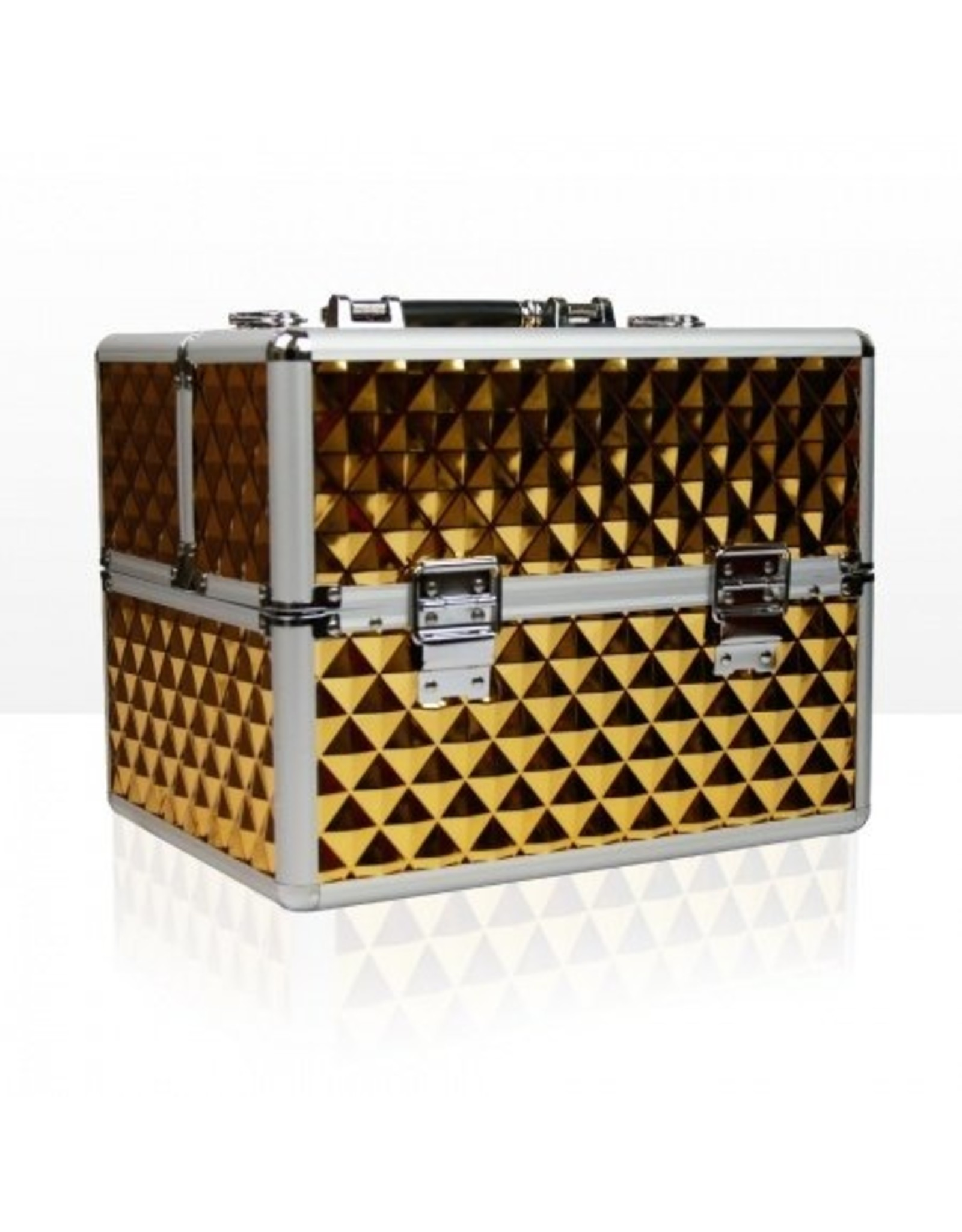 Merkloos Aluminium koffer 3D met opbergvakken Gold