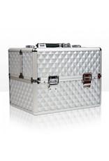 Merkloos Aluminium koffer 3D met opbergvakken Zilver
