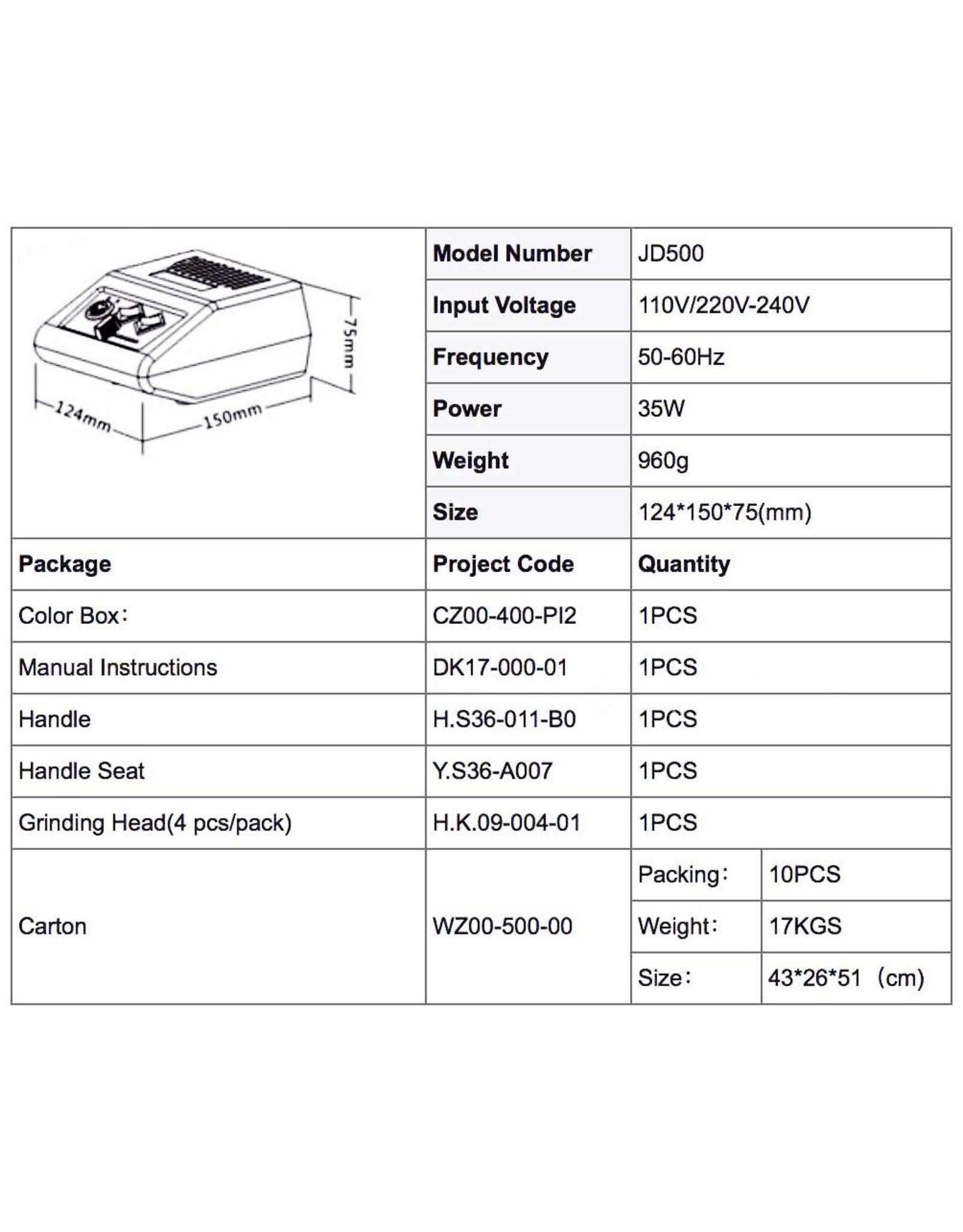 Mega Beauty Shop® Nagelfrees JD500 35Watt Originele + Freesset 30-delig MBS®