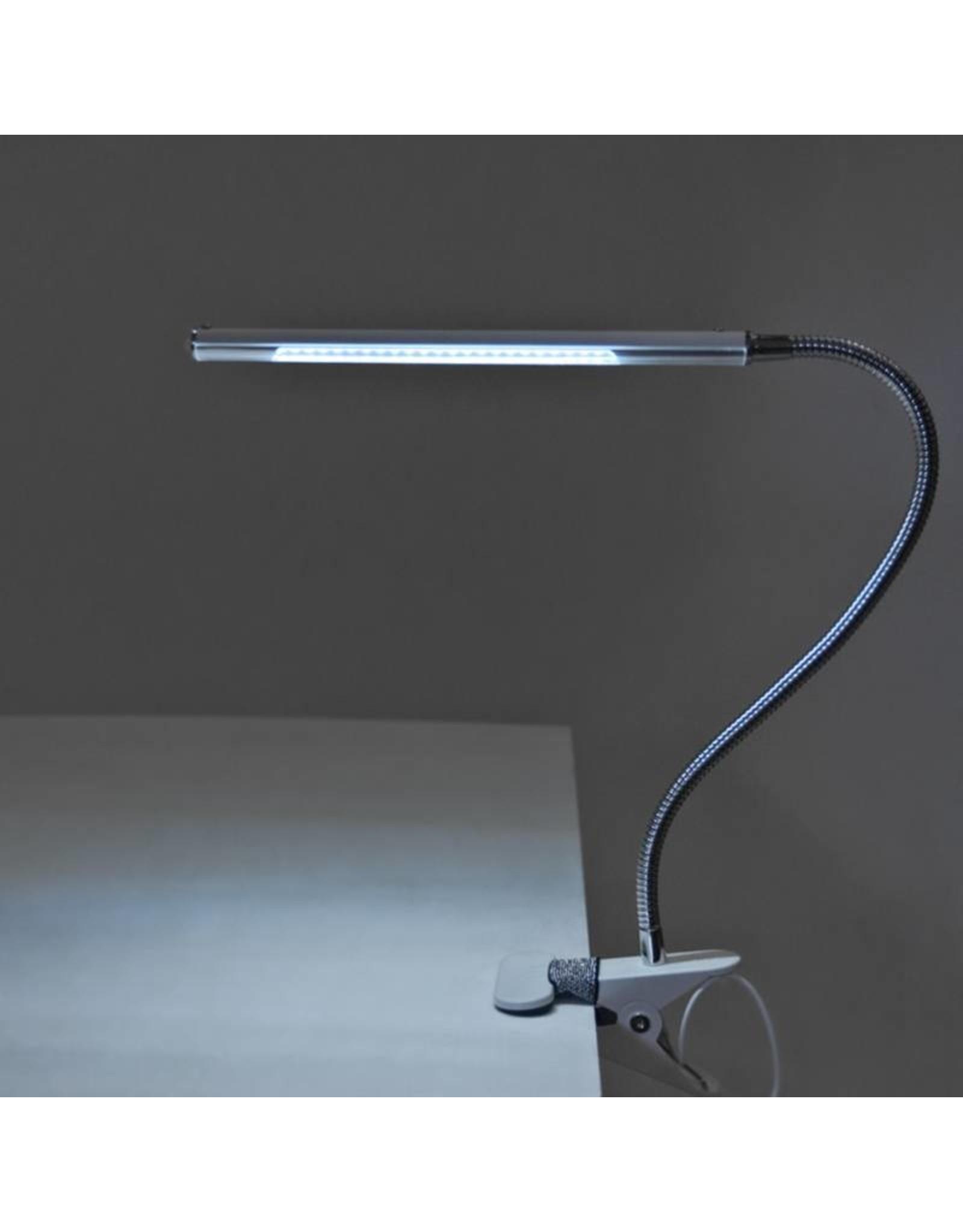Mega Beauty Shop® LED Tafellamp Zwart met een flexibele arm op tafelklem.