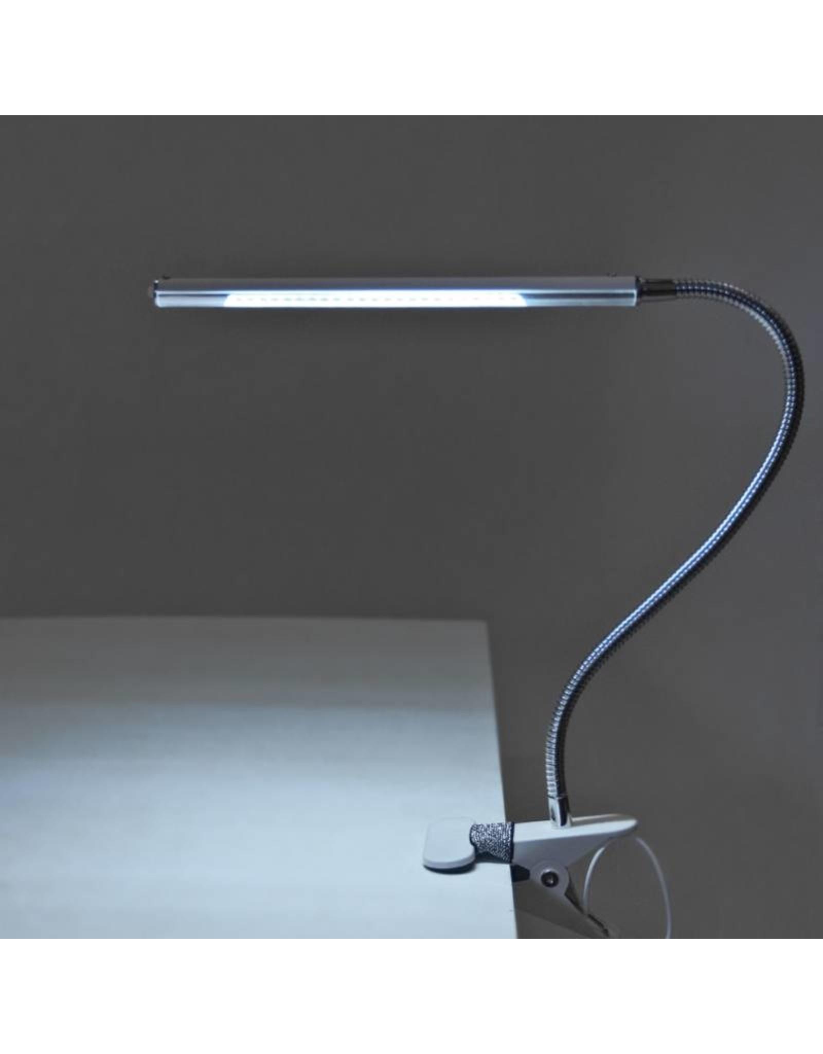 Mega Beauty Shop® LED Tafellamp Blauw met een flexibele arm op tafelklem.