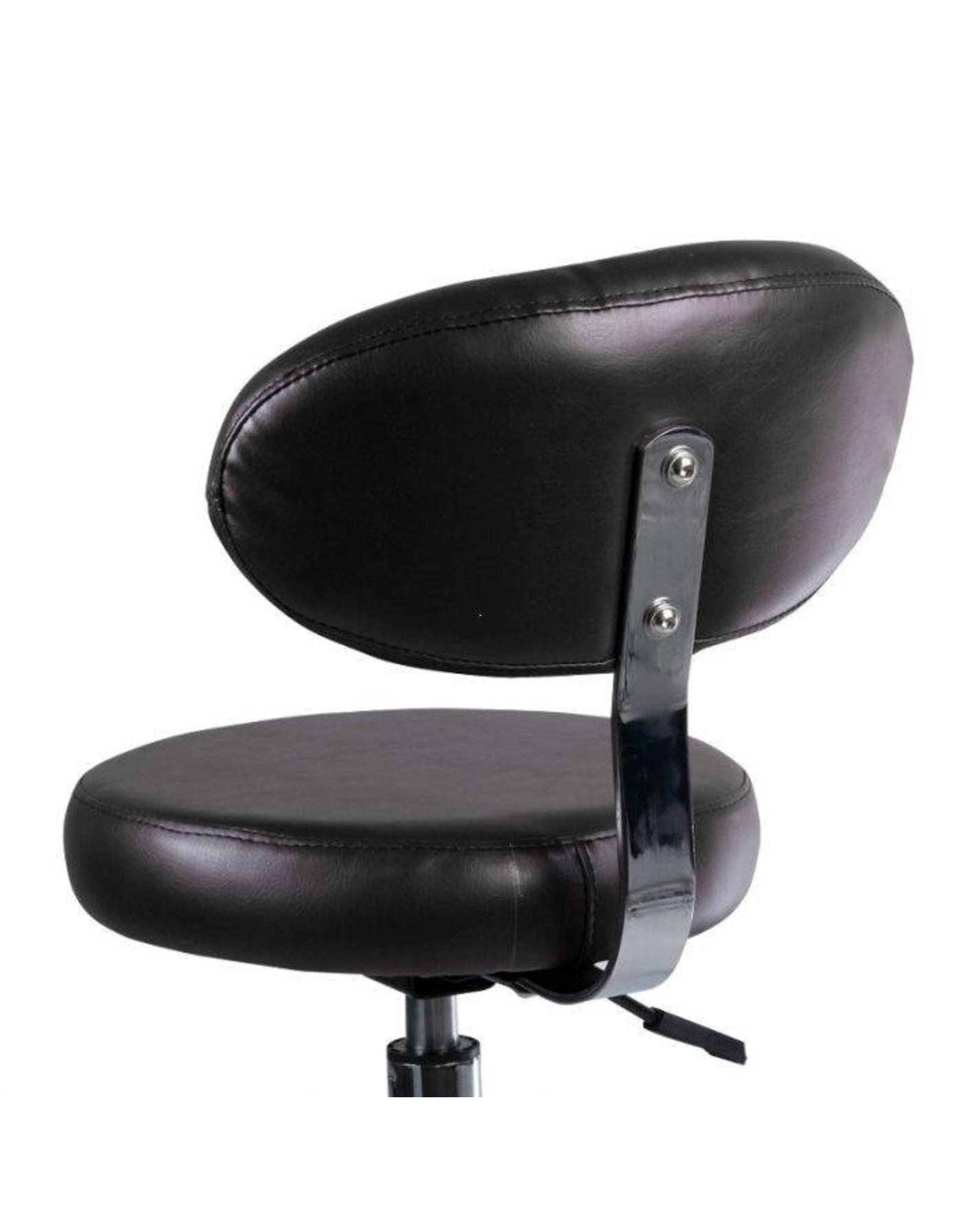 Mega Beauty Shop® Salon kruk met rugleuning - zwart