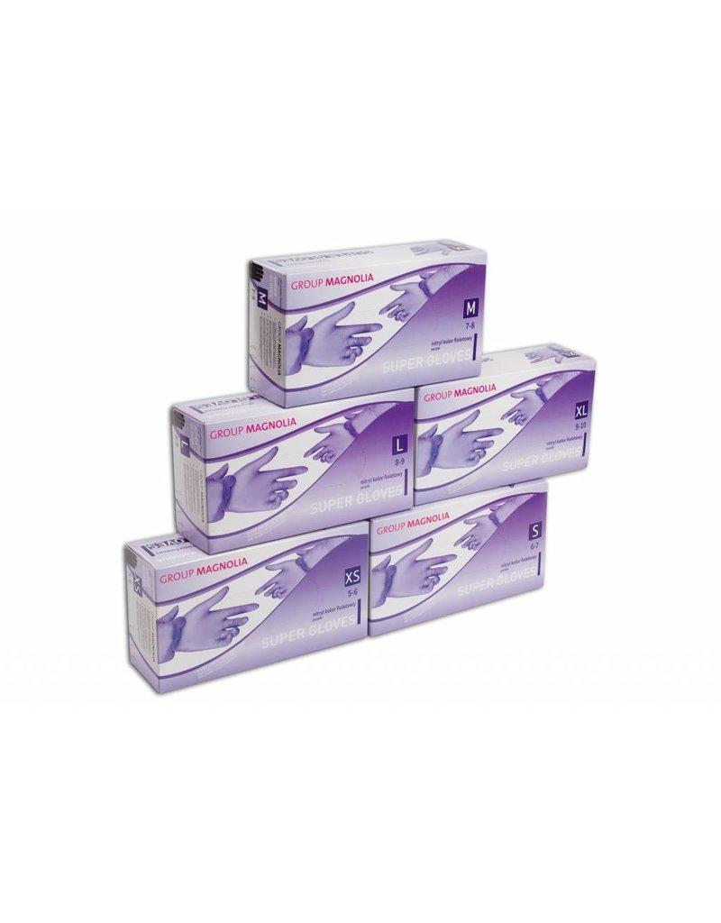 Group Magnolia Nitril poedervrij paars L - Verpakking: 1 doos met 10 dispensers van 100 stuks