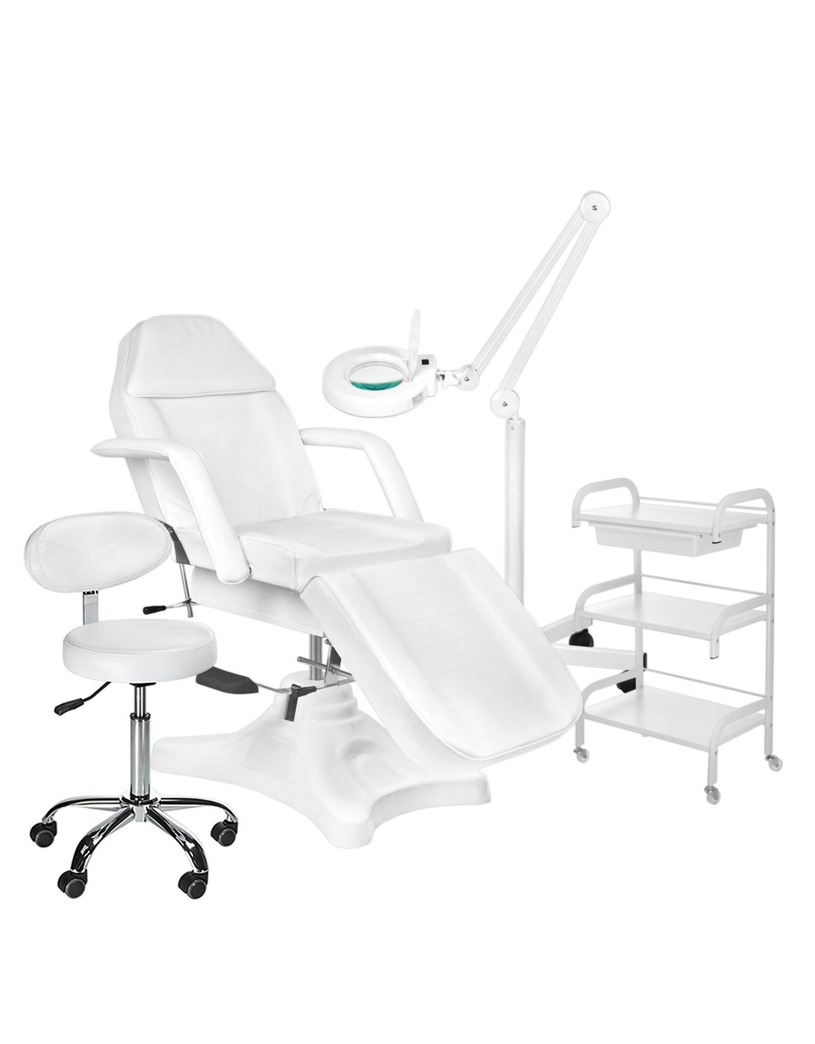 Mega Beauty Shop® 6. Behandel/pedicure starter set WIT met GRATIS behandelstoelhoes.