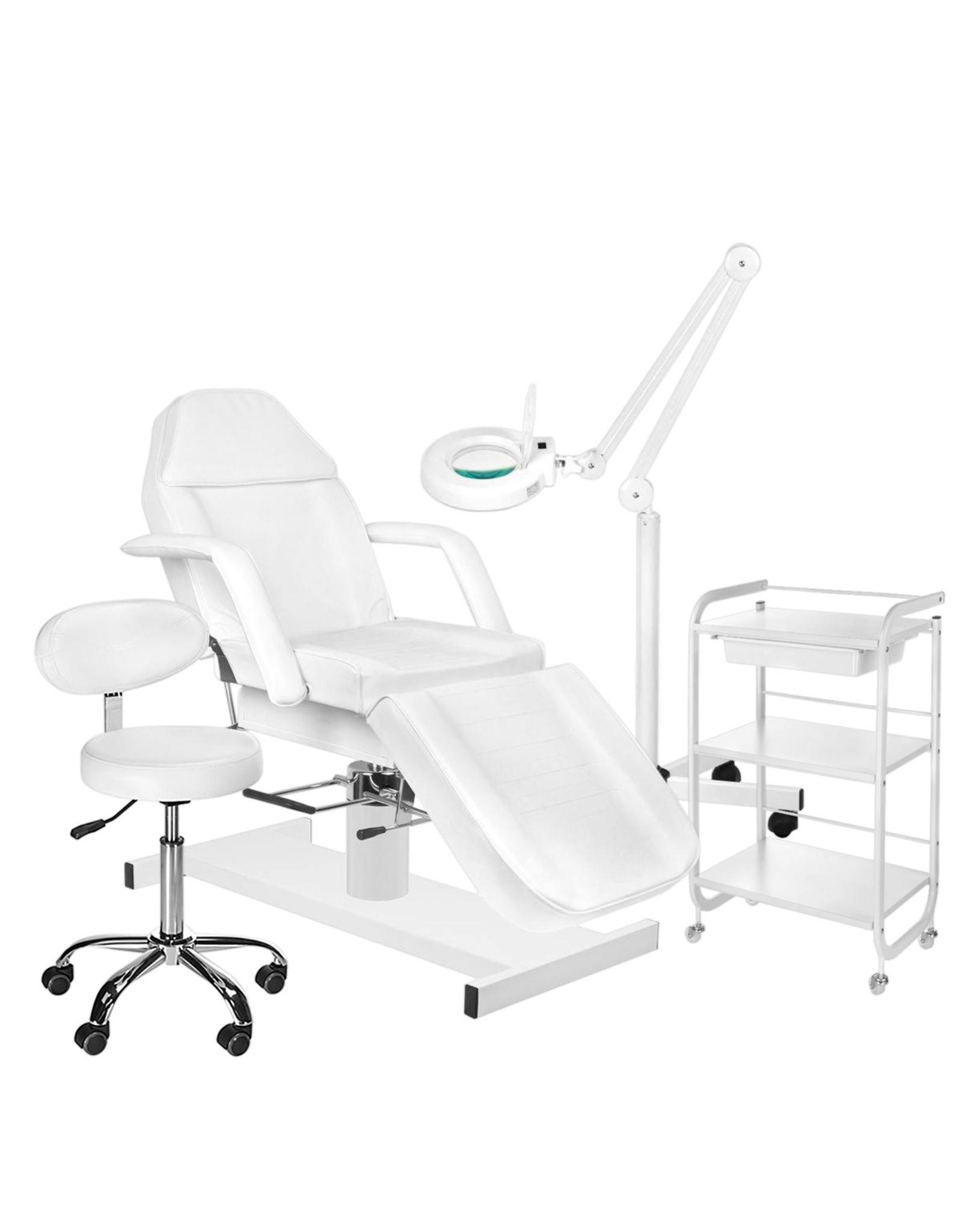 Mega Beauty Shop® 3. Behandel/pedicure starter set WIT met GRATIS behandelstoelhoes.