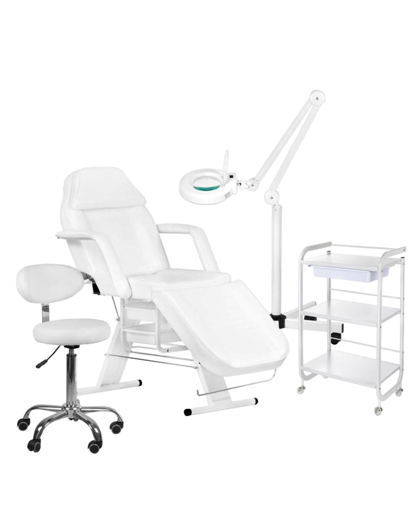 Mega Beauty Shop® 2. Behandel/pedicure starter set WIT met GRATIS behandelstoelhoes.