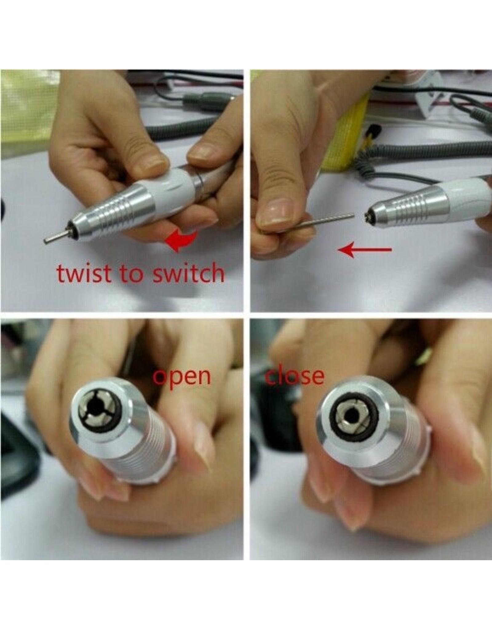Mega Beauty Shop® Handstuk voor nagelfrees wit (3 pins)