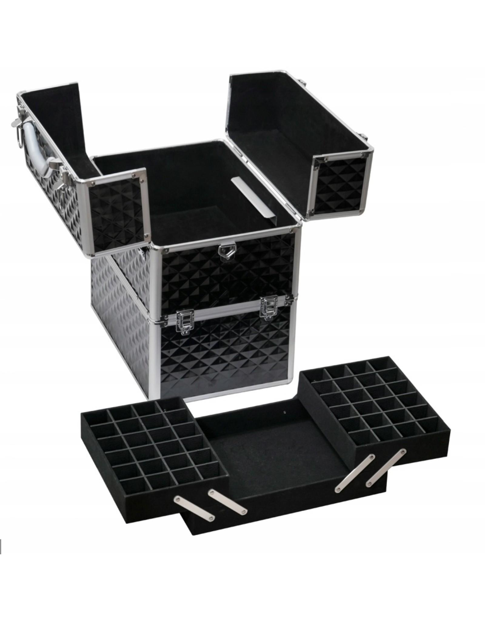 Mega Beauty Shop® Koffer groot 3D zwart met opbergvakken