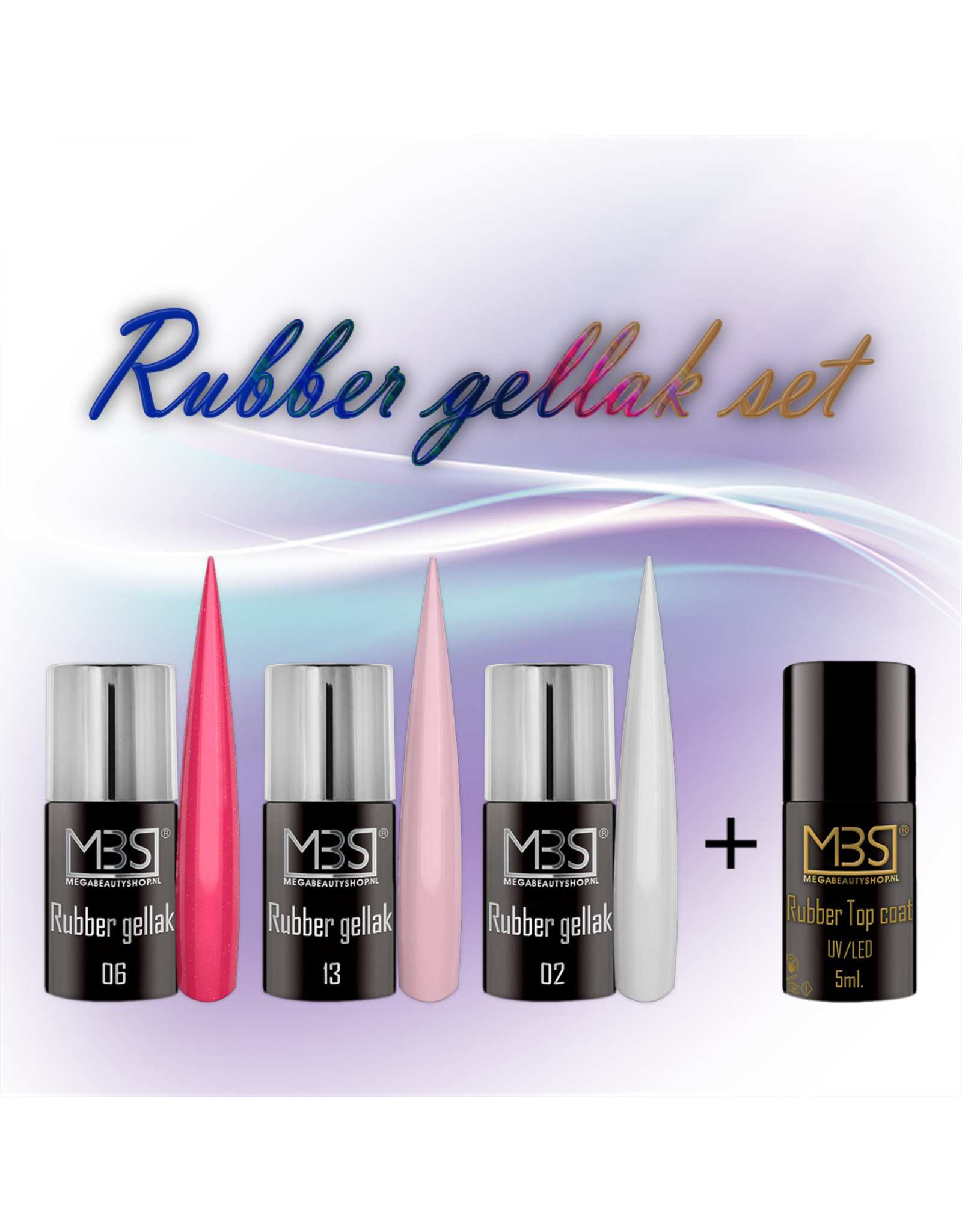 Mega Beauty Shop® Rubber gellak set met Rubber topcoat (01)