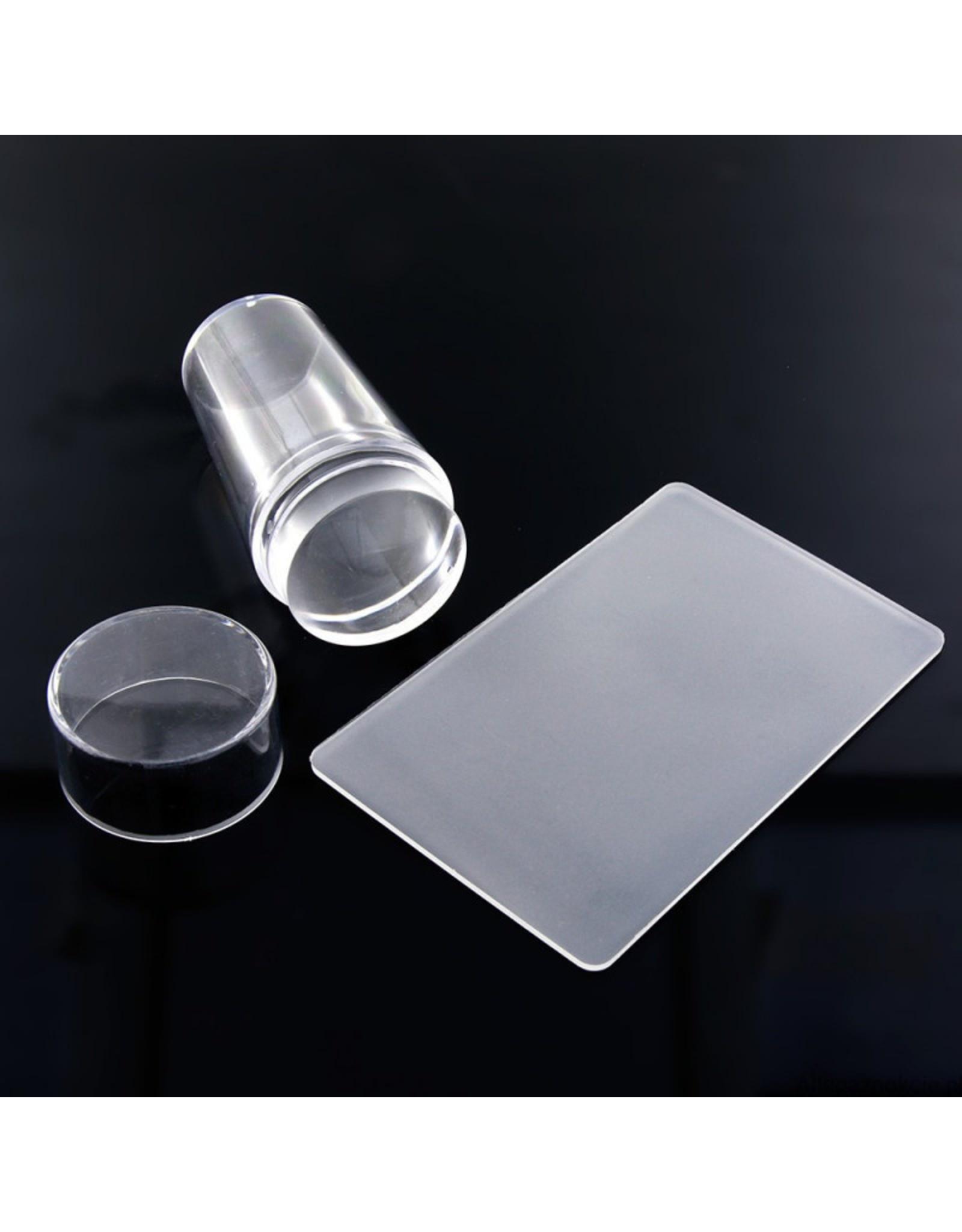 Merkloos Siliconen stempel schraper + kussentje