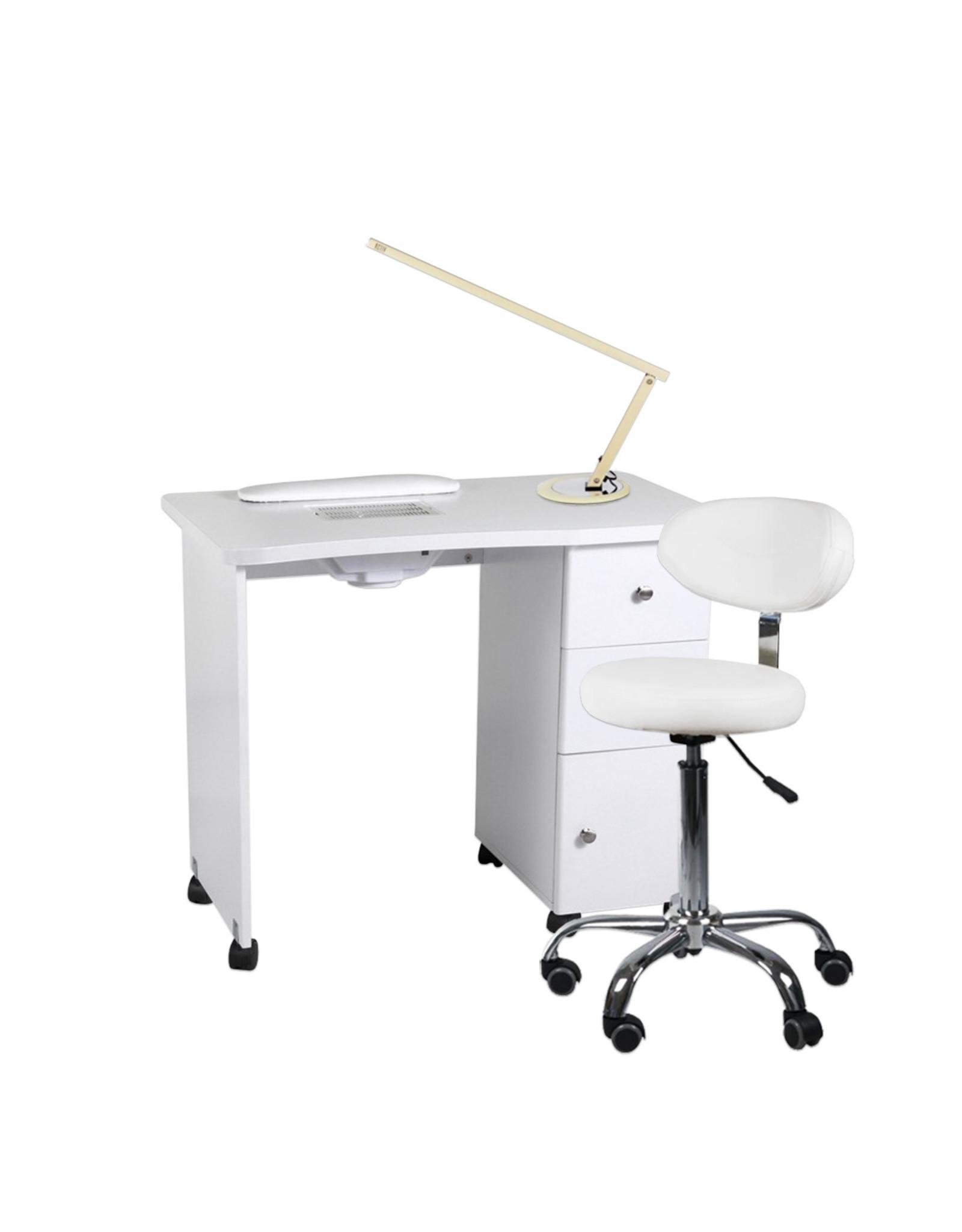 Mega Beauty Shop® Manicuretafel  + Werkstoel incl. Tafellamp  (03)