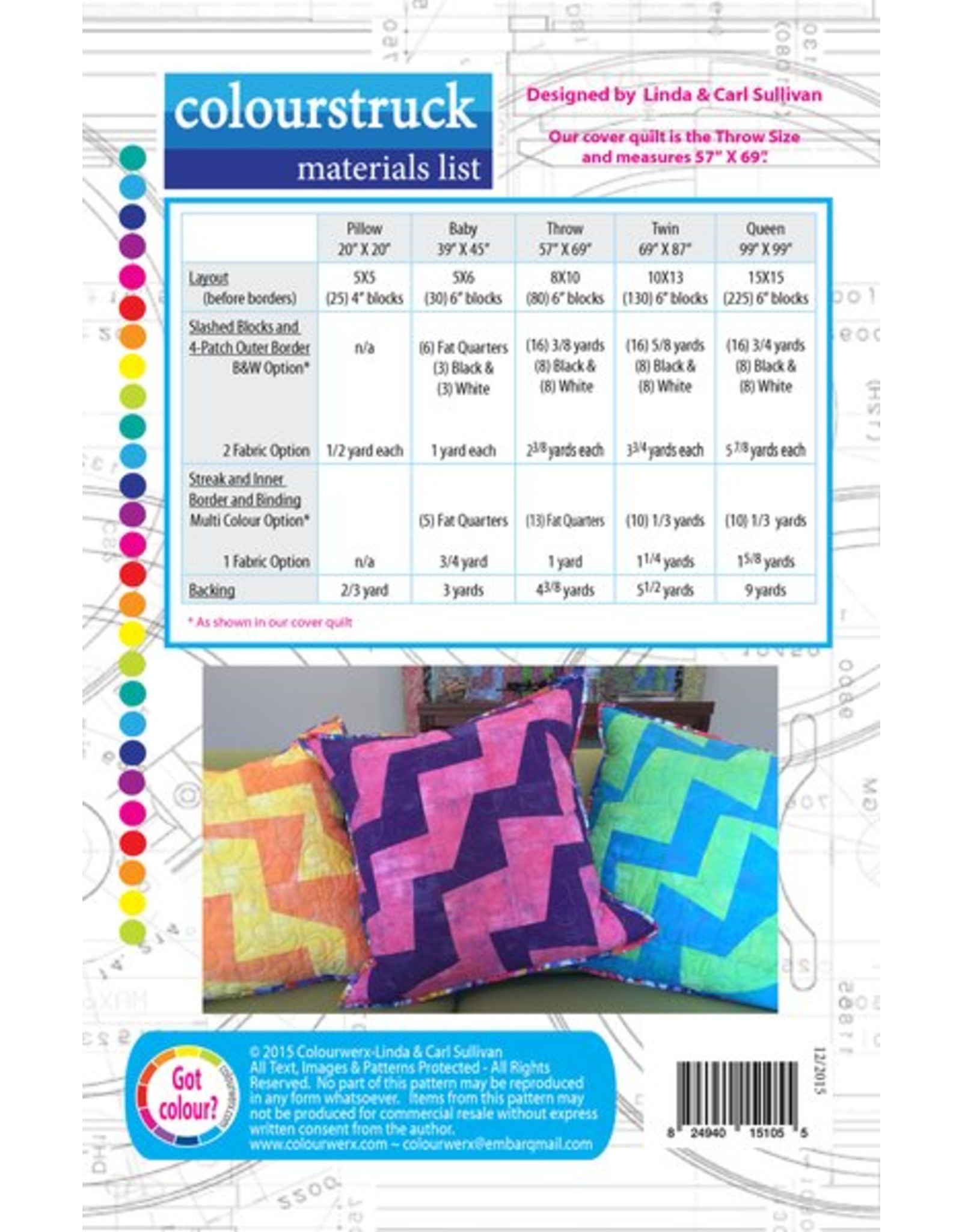 Colourwerx Colourstruck - patroon voor een quilt