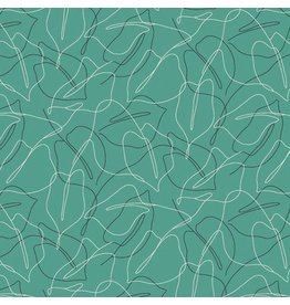 Contempo Zentastic - Scribble Leaf Aquamarine