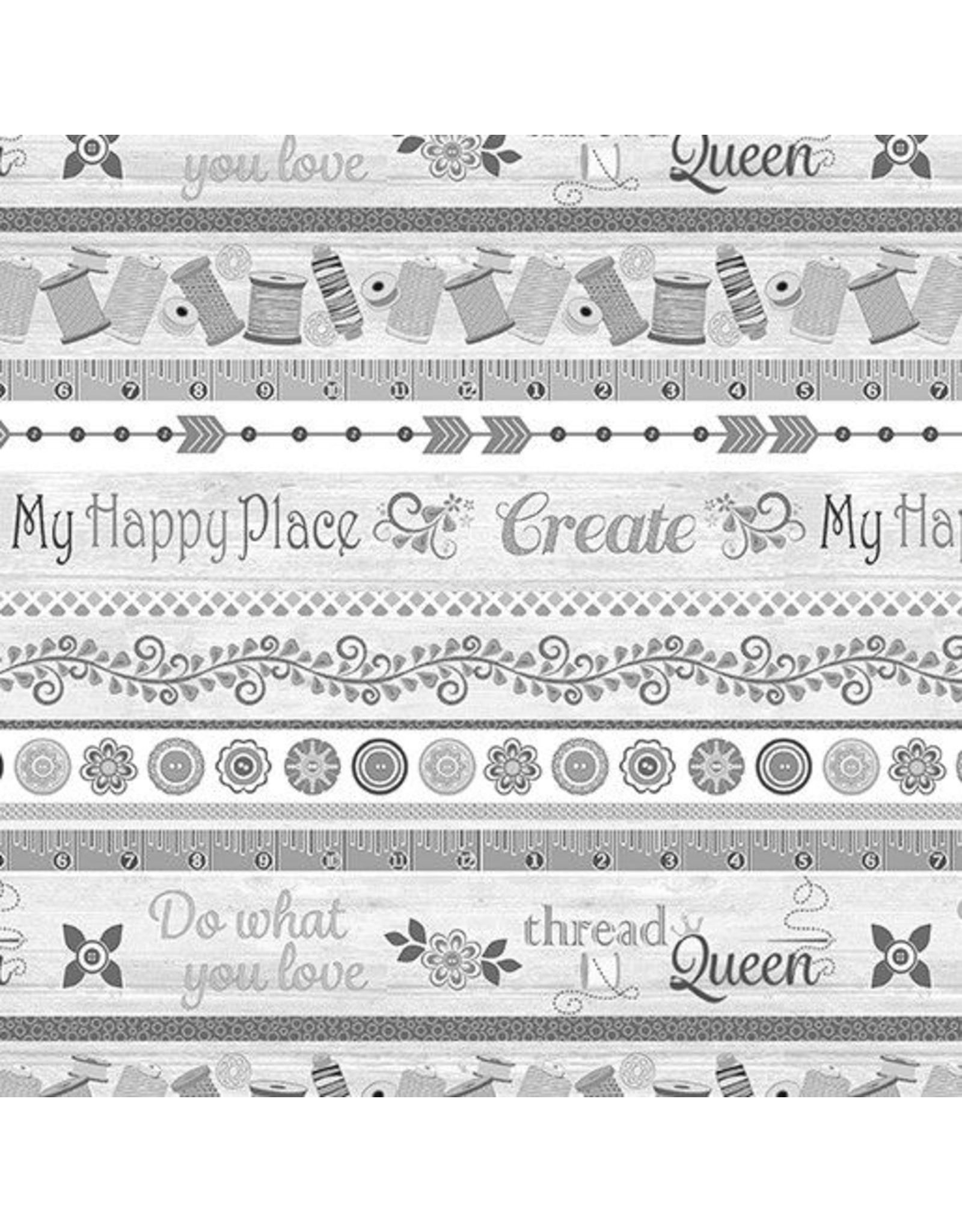 Contempo My Happy Place - My Happy Place Stripe Grey