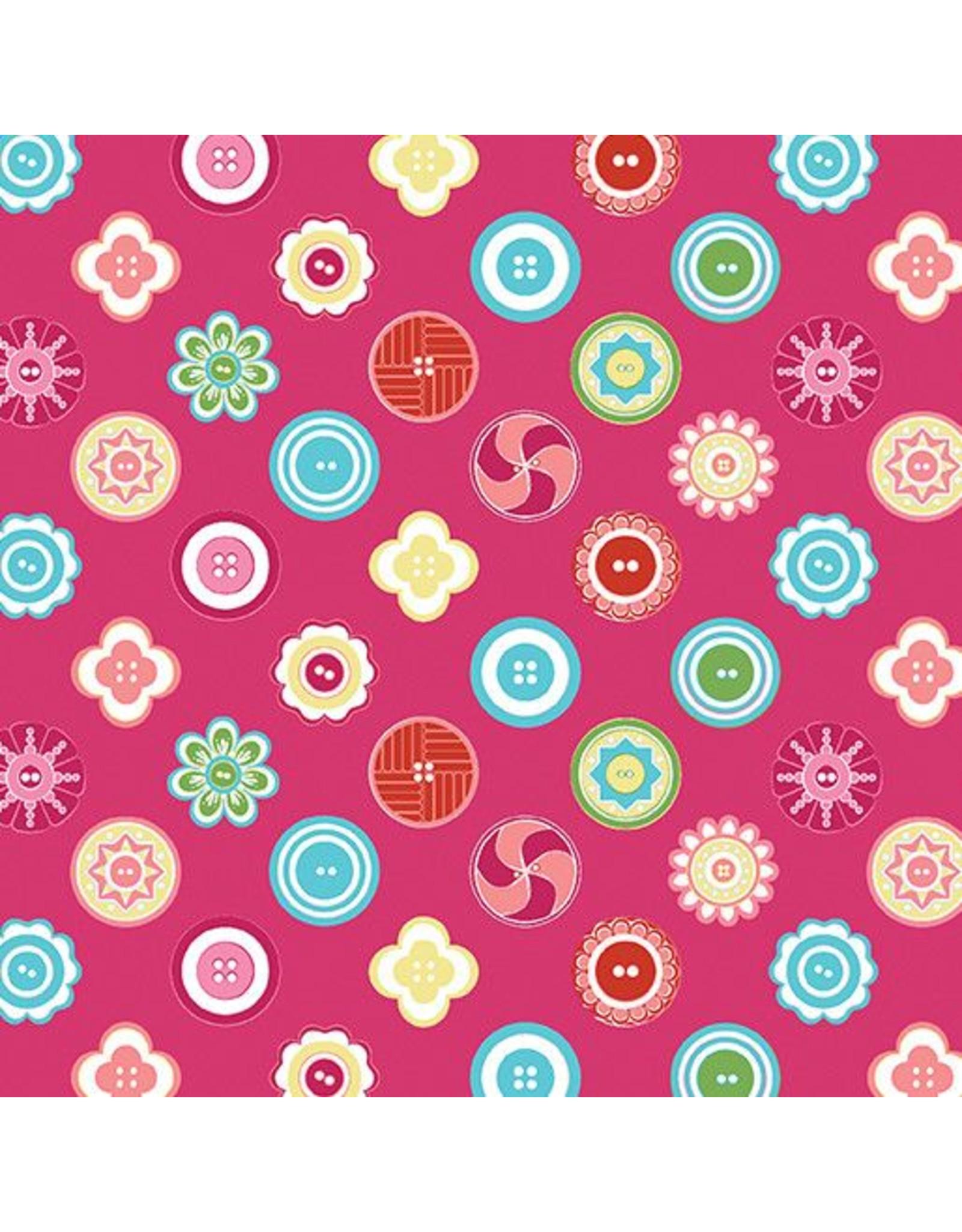 Contempo My Happy Place - Squared Buttons Fuchsia