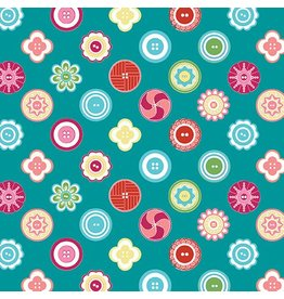 Contempo My Happy Place - Squared Buttons Teal