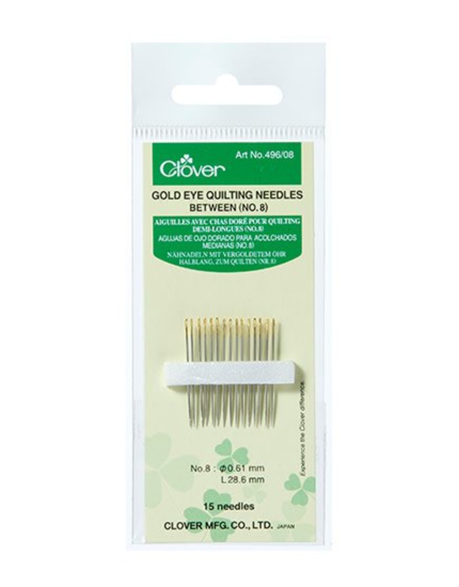 Clover Gold Eye Quilting Needles no. 8