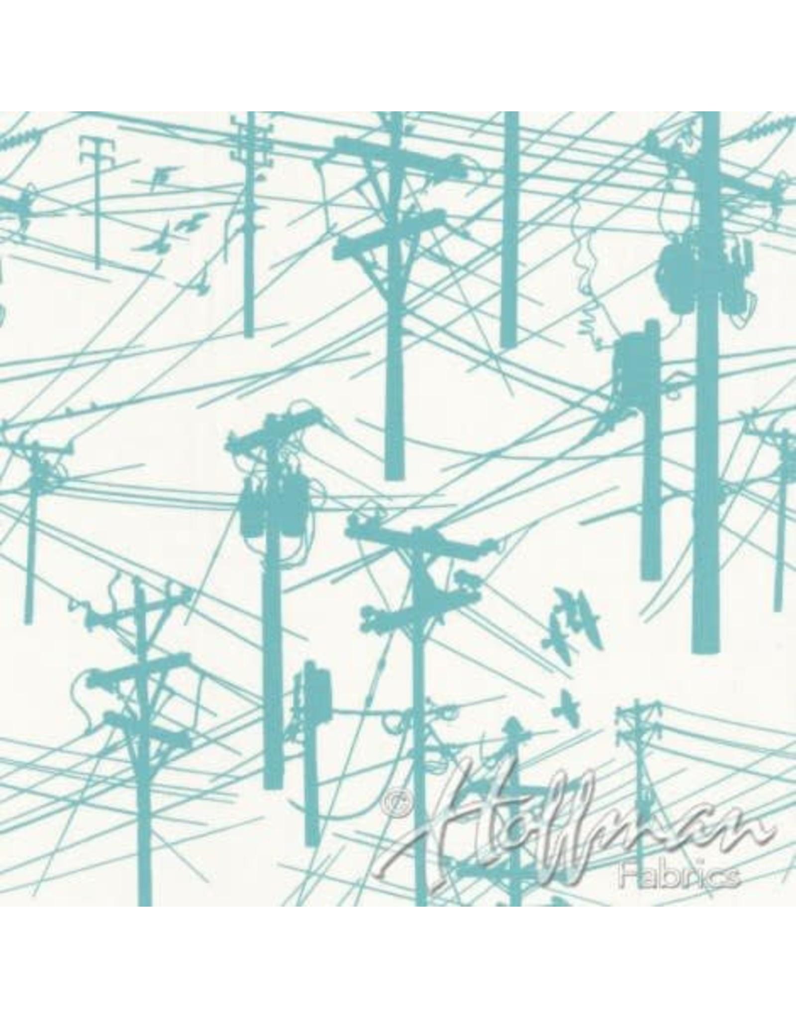 Me+You by Hoffman Fabrics Grafic - Power Lines Aqua