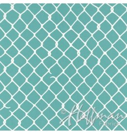 Me+You by Hoffman Fabrics Grafic - Chain Link Fence Aqua