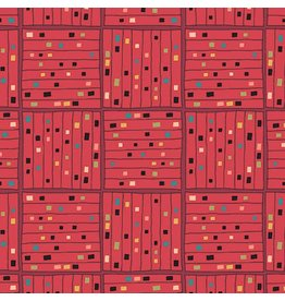 Contempo Printology - Gridwork Red