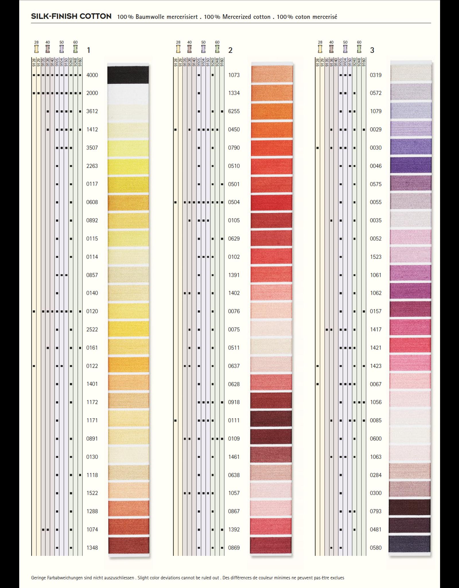 Mettler Kleurkaart 1 - Silk Finish Cotton 50 - 150 meter
