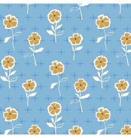 Figo Rollakan - Stencil Flowers in Blue