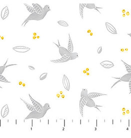 Northcott Sew Sweet - Swallows Light Gray