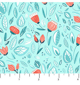 Northcott Sew Sweet - Flower Shower Turquoise Coral