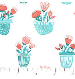 Northcott Sew Sweet - Flower Planters Turquoise Coral