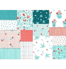 Northcott Sew Sweet - Turquoise/Coral - Fat Eight Pakket