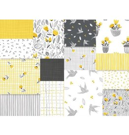 Northcott Sew Sweet - Yellow/Gray - Fat Eight Pakket
