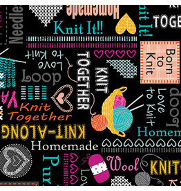 Kanvas Knit Together - Words to Knit Black