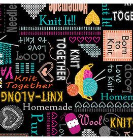 Kanvas Studio Knit Together - Words to Knit Black