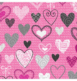 Kanvas Knit Together - Hearts Pink