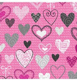 Kanvas Studio Knit Together - Hearts Pink