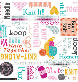 Kanvas Knit Together - Words to Knit White