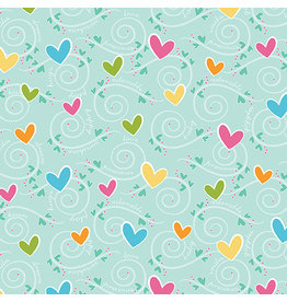 Contempo My Little Sunshine 2 - Hearts and Swirls Turquoise